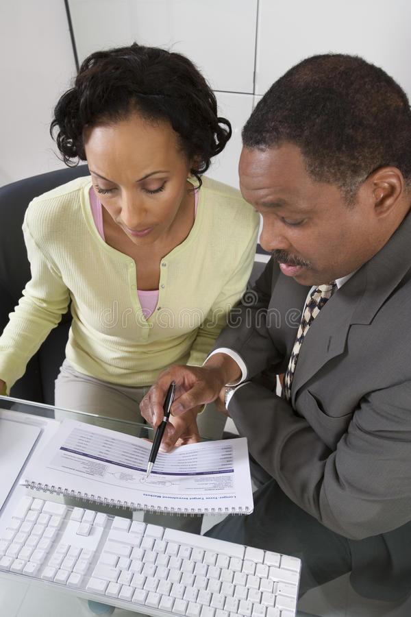 Accountant met Cliënt royalty-vrije stock afbeelding