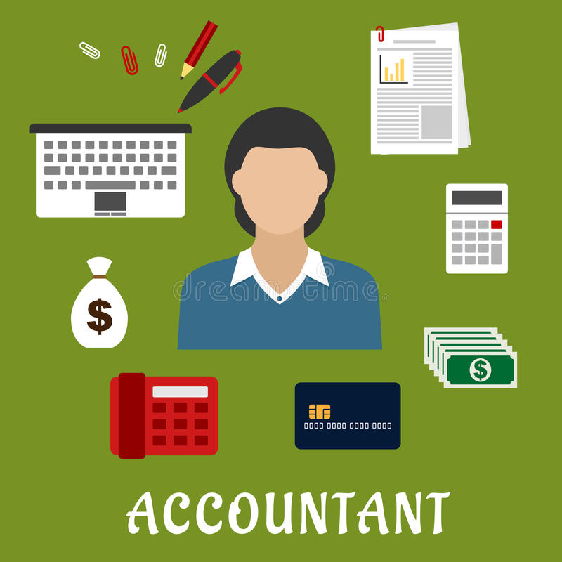 Accountant profession and objects flat icons vector illustration