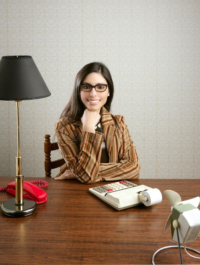 Accountant secretary retro woman vintage office stock image