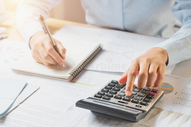 accountant working on desk royalty free stock image