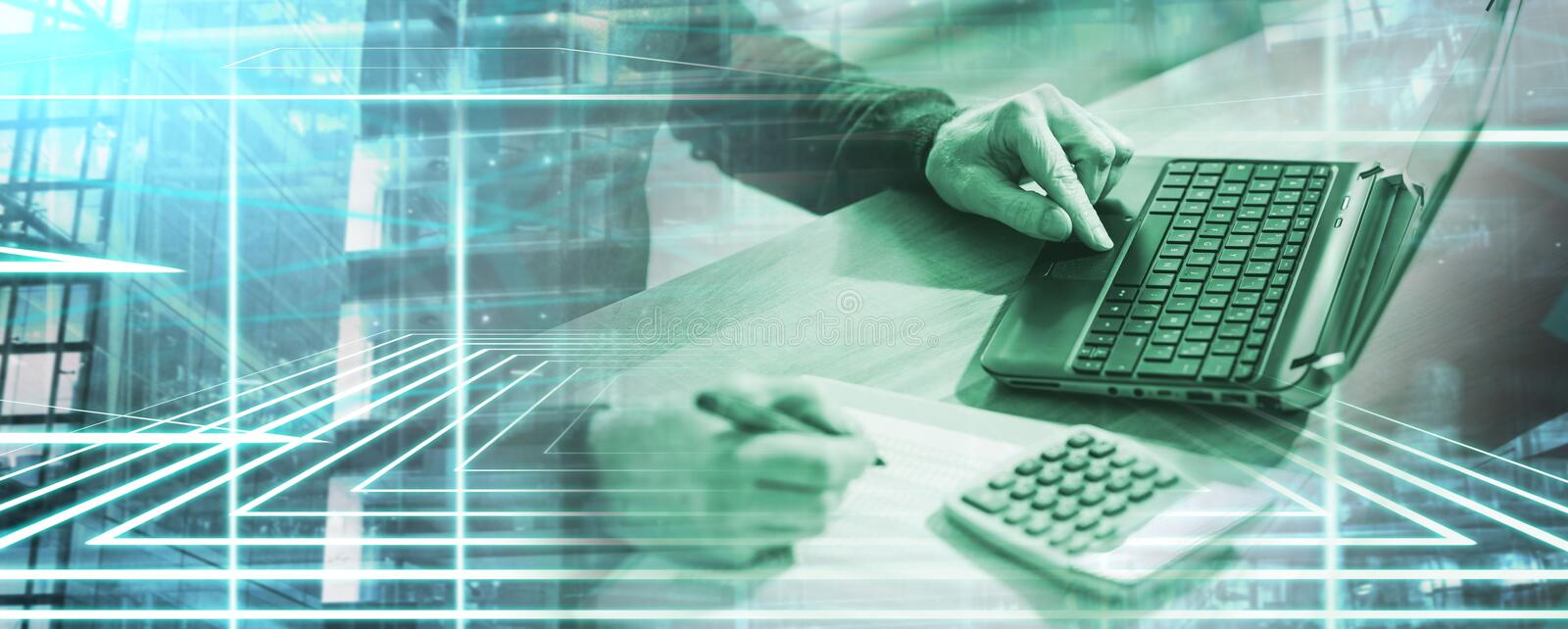 Accountant working on laptop; multiple exposure royalty free stock photo