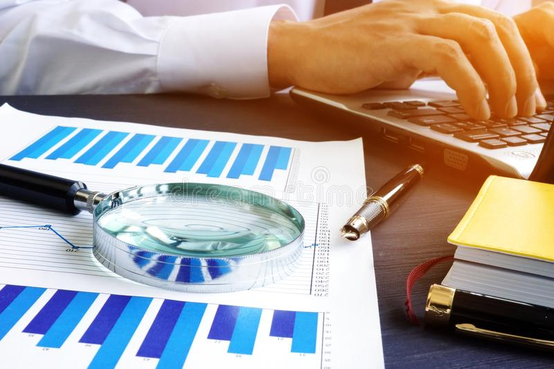 Accountant is working in the office. Audit or accounting. royalty free stock image
