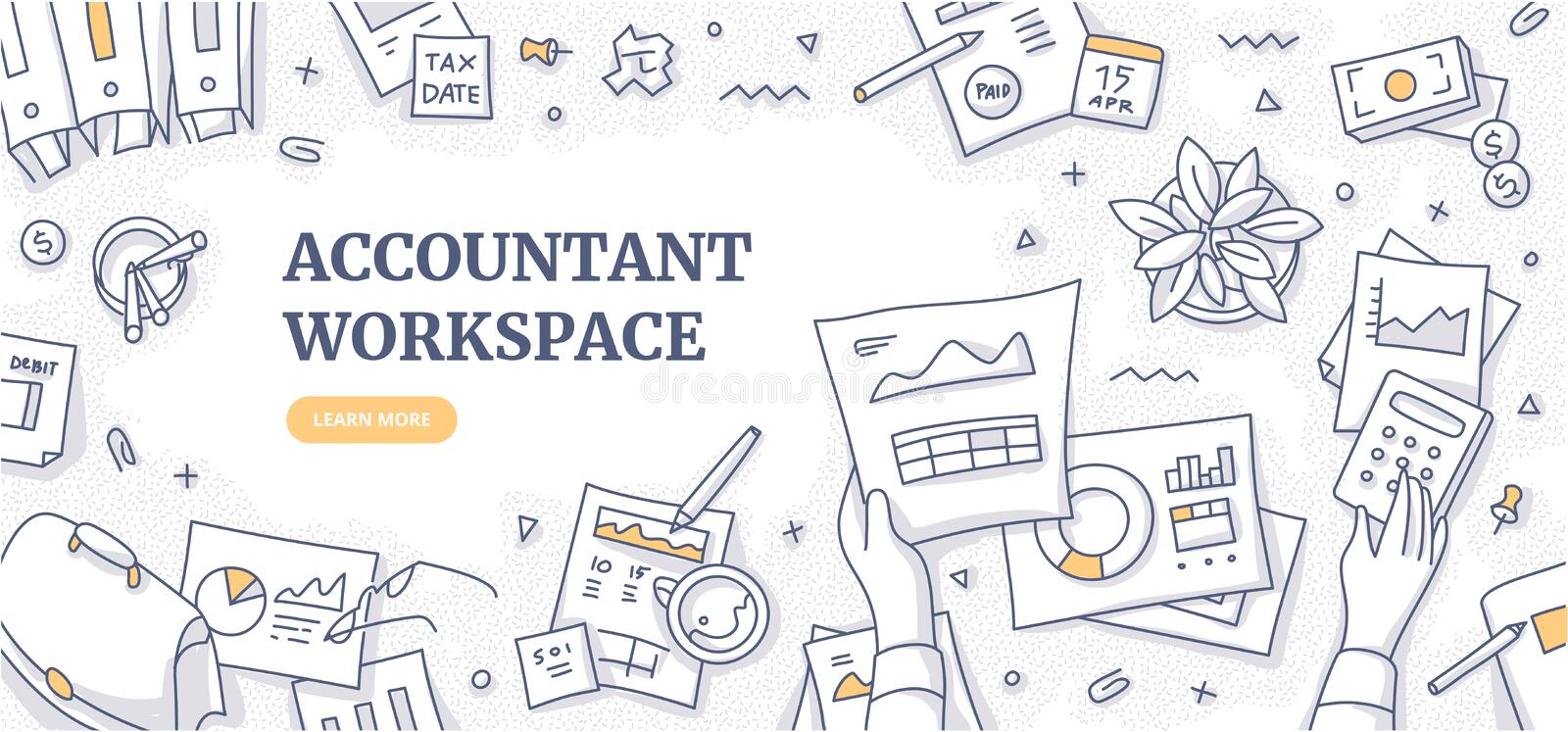 Accountant Workspace Doodle Concept. Accountant workplace doodle concept. Top view on financial paperwork & reports, stationery of financial specialist. Clerk royalty free illustration