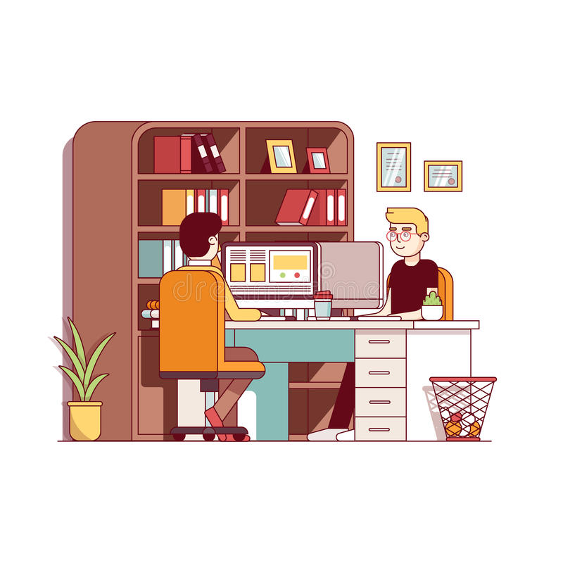 Accountants working together sharing office desk royalty free illustration