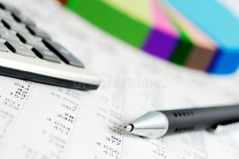 Financial accounting. Financial analysis and stock market graphs and charts royalty free stock photo