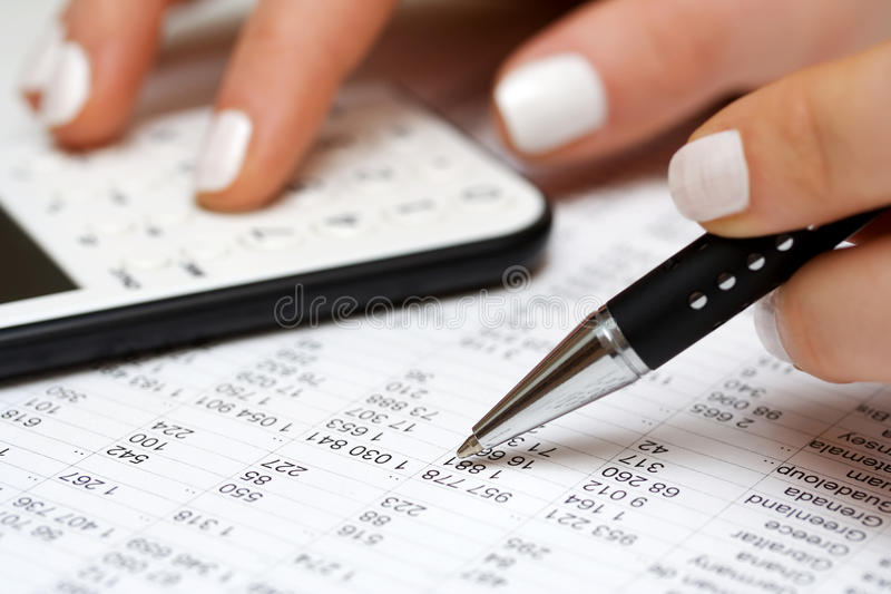 Accounting. Stock market charts and financial analysis royalty free stock photos