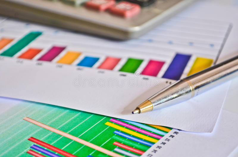 Accounting. Balance and calculating results of a business accounting royalty free stock photos