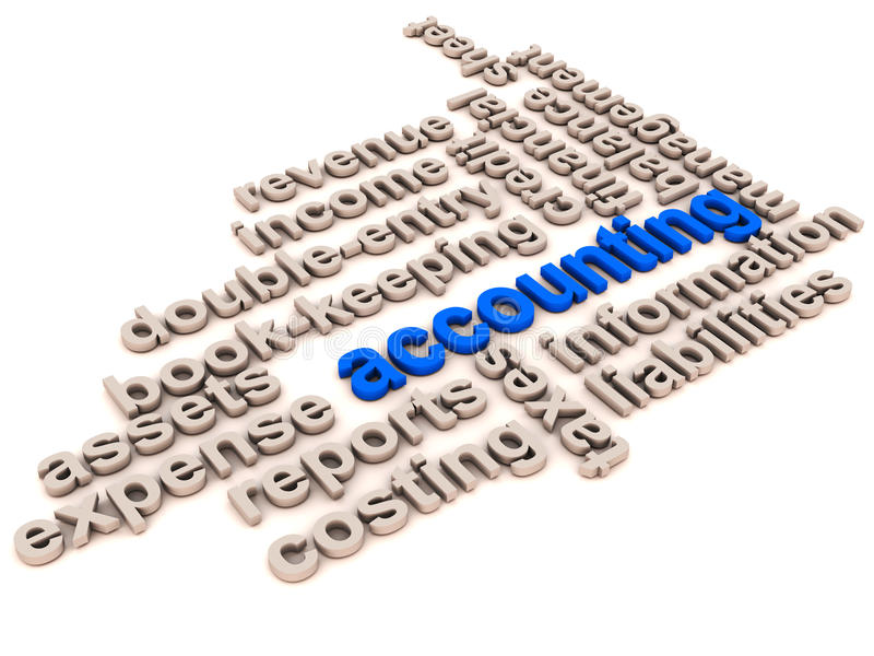 Accounting and book keeping. Collage of words related to accounting, book keeping and finance records