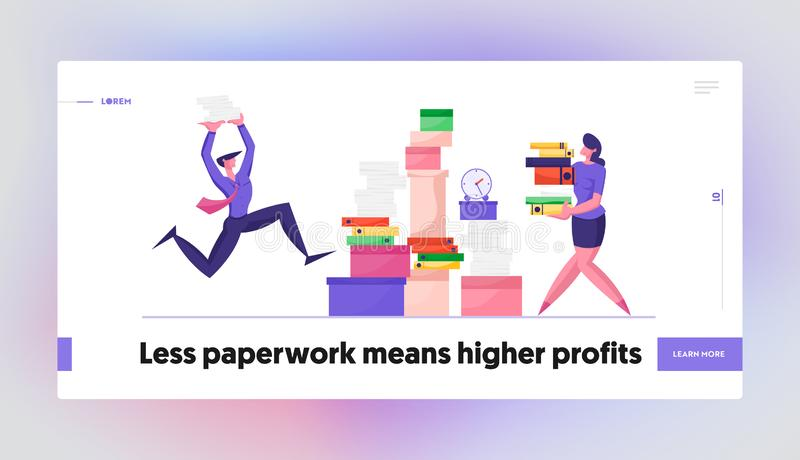 Accounting Bureaucracy Manager at Workplace Website Landing Page. Businessman and Businesswoman. Carry Huge Steak of Documents at Very Busy Office Day Web Page stock illustration