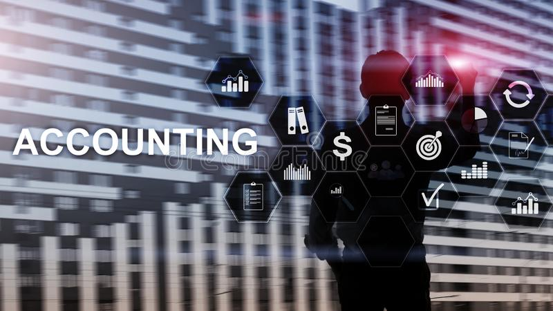 Accounting, Business and finance concept on virtual screen royalty free stock photo