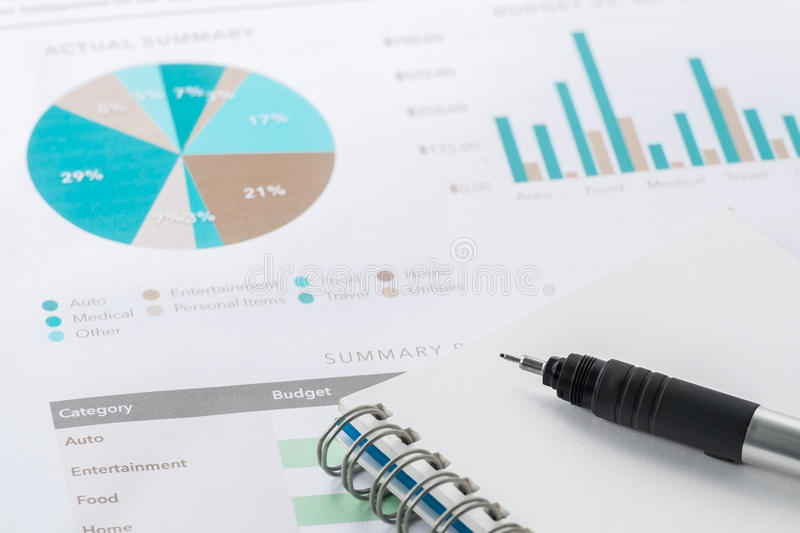Accounting business and financial report with pen . stock photography