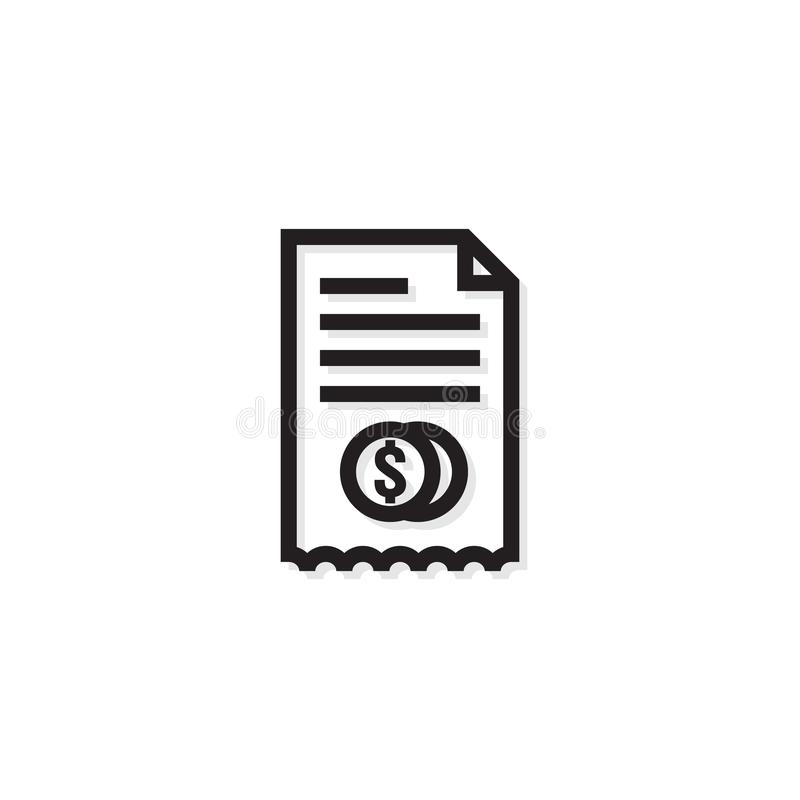 Accounting business management line Icon. Payment money dollar bill Invoice symbol. budget cost finance report document with chart stock illustration