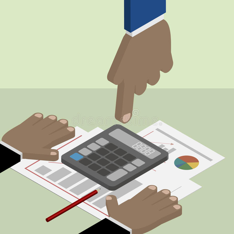 Accounting and business planning. Hand pointing at a calculator. vector illustration