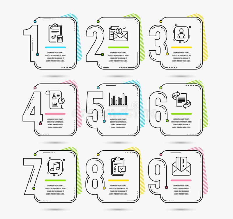Accounting checklist, Report and Checklist icons. Developers chat, Bar diagram and Accounting report signs. Vector. Infographic template with numbers 9 options stock illustration