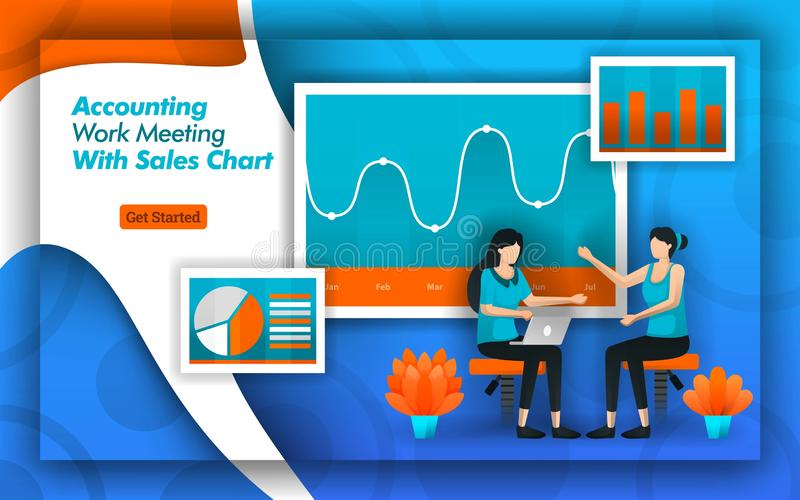 Accounting companies provide accounting work meeting services with sales chart for the accuracy of data with certified bookkeeper. Outsourcing and Banking need royalty free illustration