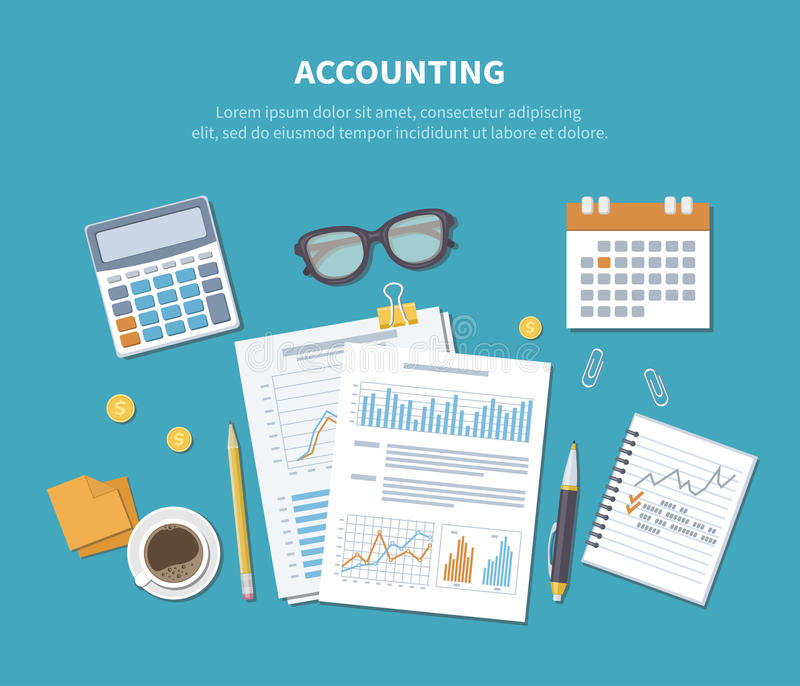 Accounting concept. Financial analysis, planning, statistics, research. Documents, forms, charts, grap. Accounting concept. Financial planning, analytics royalty free illustration