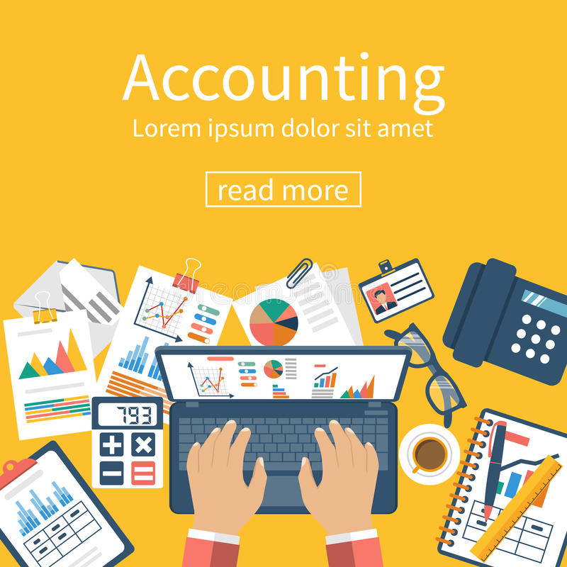 Accounting concept. Organization process. vector illustration
