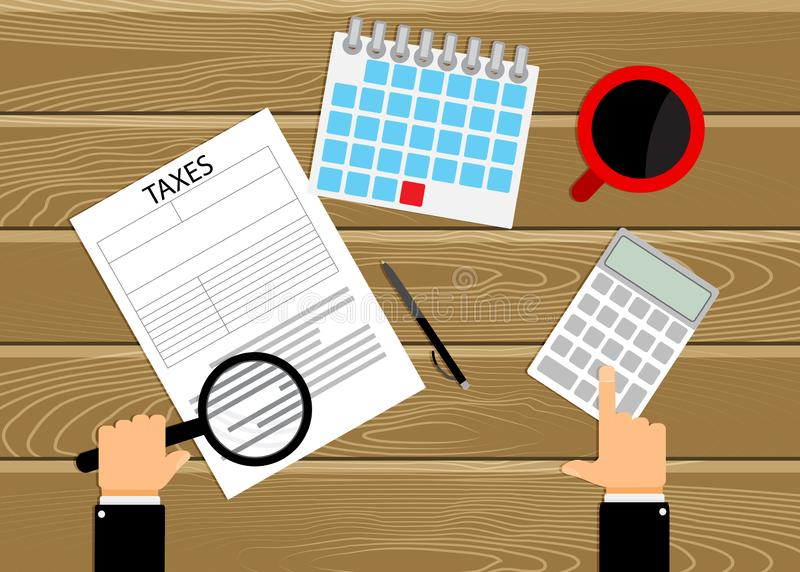 Accounting count taxes in workplace. Taxe time, calculator and magnifier. Vector illustration vector illustration