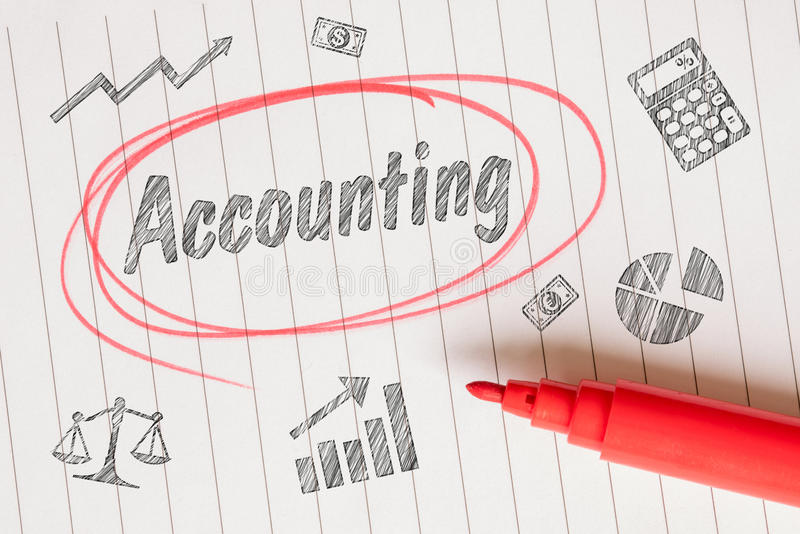 Accounting drawing with a red marker royalty free stock images