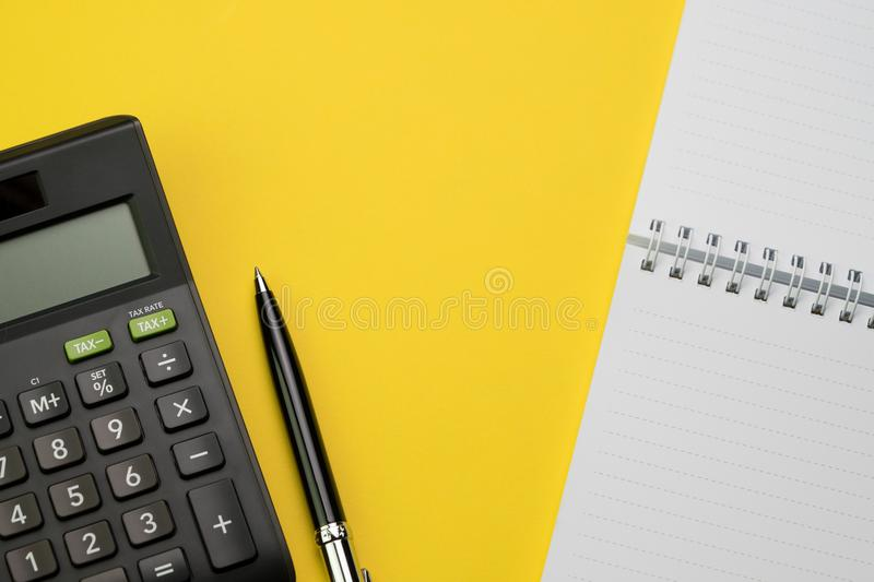 Accounting, financial concept, flat lay or top view of black pen royalty free stock photos