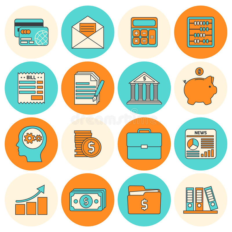 Accounting icons set flat line. Accounting investments savings billing flat line icons set isolated vector illustration stock illustration