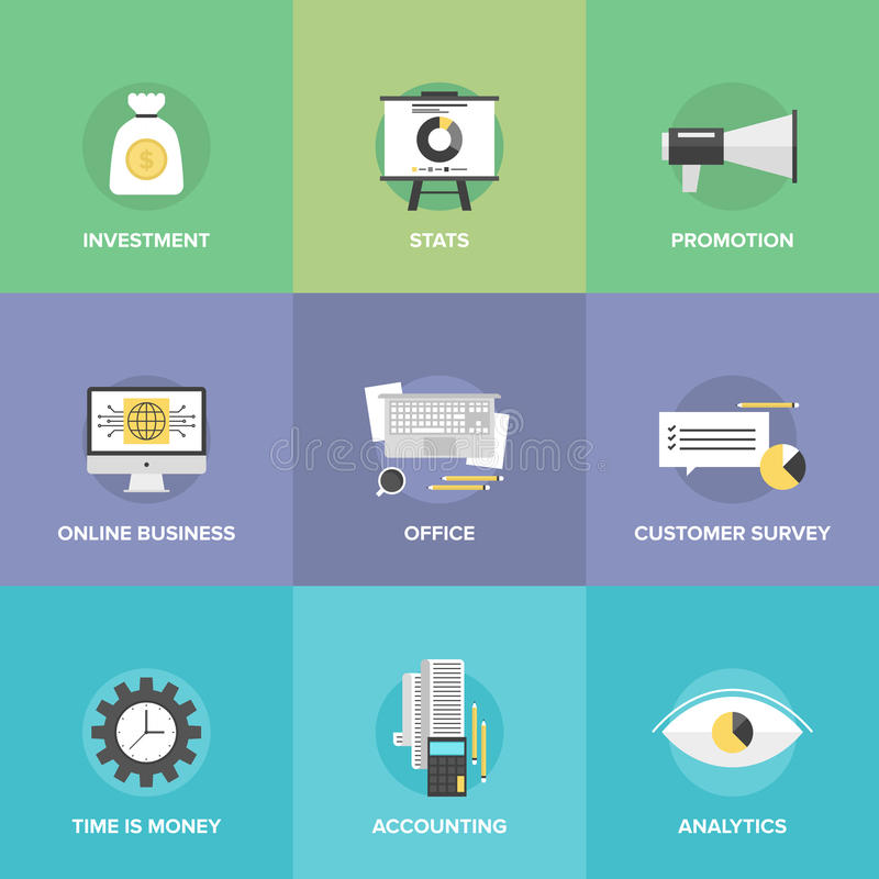 Accounting and investing flat icons royalty free illustration