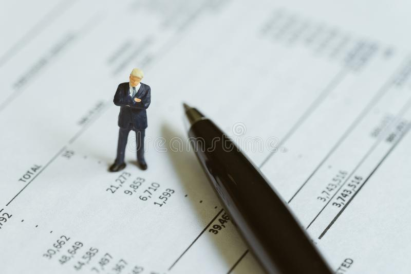 Accounting, investment, financial report analysis or expense and royalty free stock photo