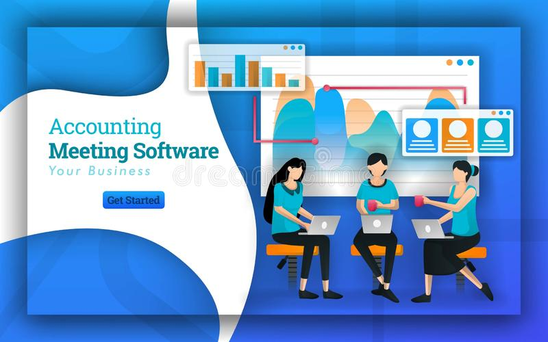 Accounting Meeting Software has many professional accountants from many companies, serving small business tax and training for acc royalty free illustration