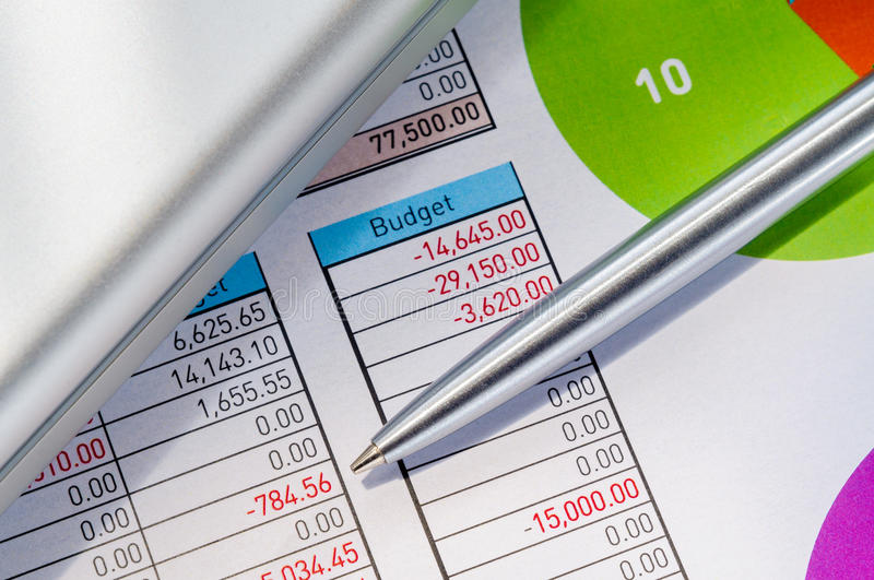 Accounting Module with Pen and Computer royalty free stock images