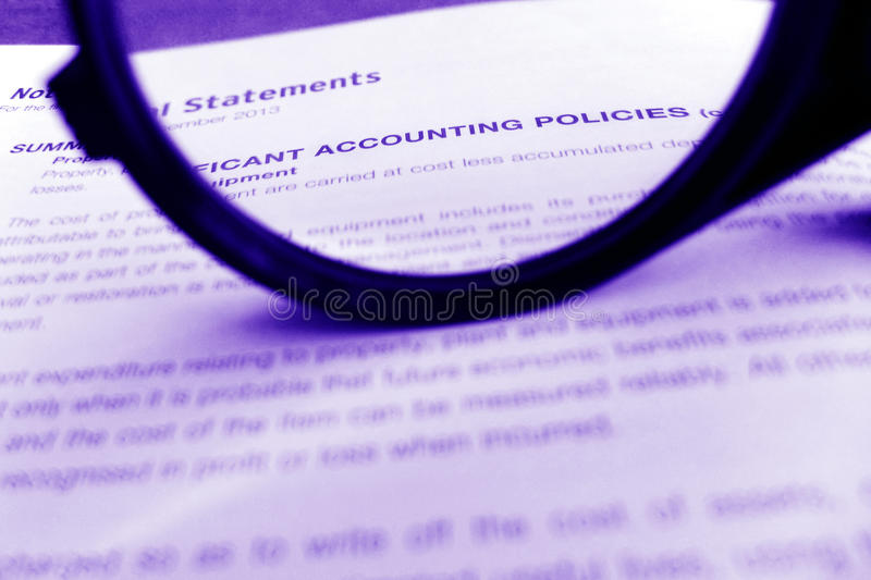 Accounting policies, focus on stock photo