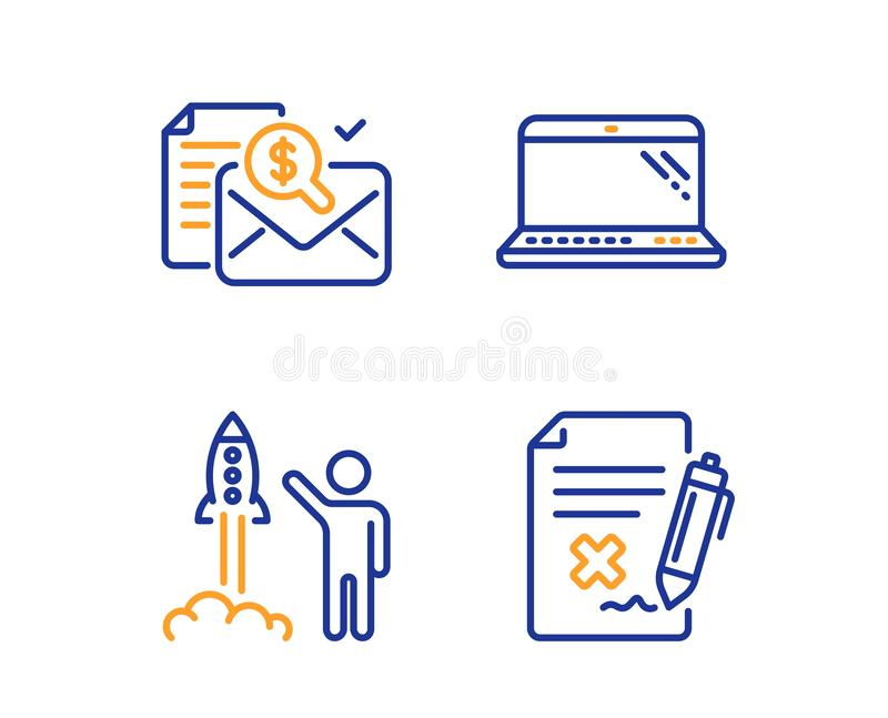Accounting report, Launch project and Laptop icons set. Reject file sign. Vector. Accounting report, Launch project and Laptop icons simple set. Reject file sign stock illustration