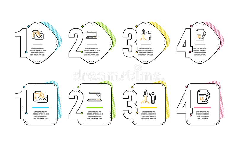 Accounting report, Launch project and Laptop icons set. Reject file sign. Vector. Accounting report, Launch project and Laptop icons simple set. Reject file sign royalty free illustration