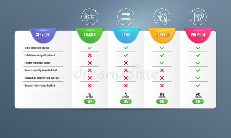 Accounting report, Launch project and Laptop icons set. Reject file sign. Vector. Accounting report, Launch project and Laptop icons simple set. Comparison table vector illustration