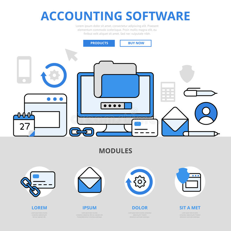 Accounting software app application concept flat line art vector icons vector illustration