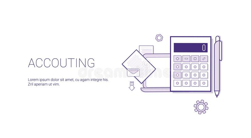 Accounting Web Banner With Copy Space Business Finance Management Concept. Vector Illustration stock illustration