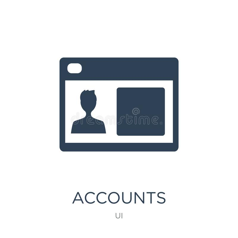 accounts icon in trendy design style. accounts icon isolated on white background. accounts vector icon simple and modern flat royalty free illustration
