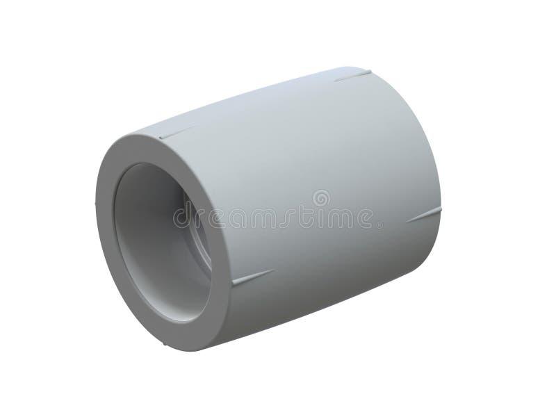 Accouplement se reliant pour des tuyaux de polypropylène Image pour annoncer les garnitures mettantes d'aplomb rendu 3d illustration libre de droits