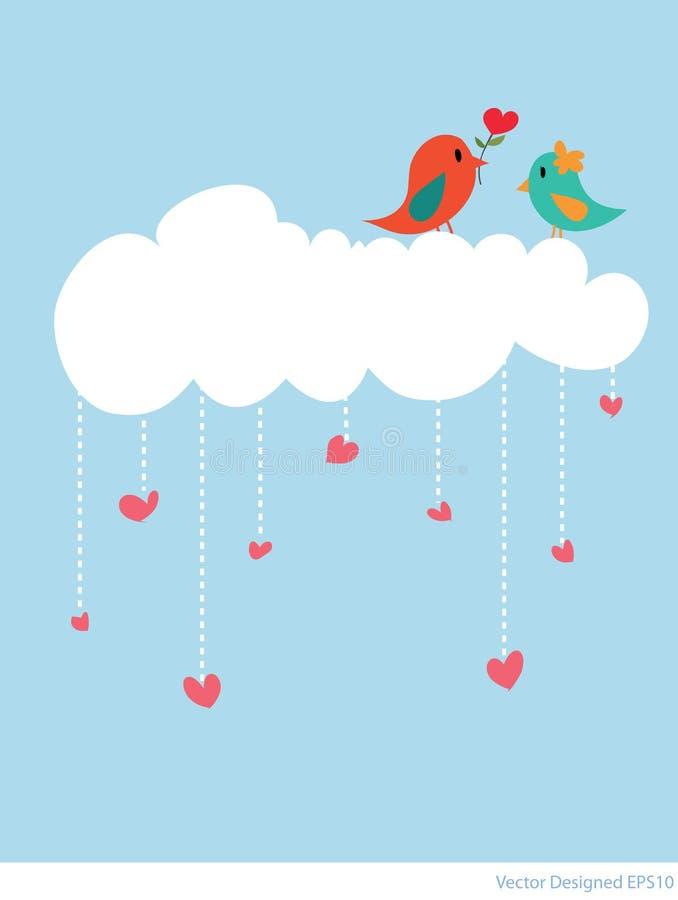 Accouplez l'oiseau avec le nuage blanc et les coeurs pleuvoir illustration stock
