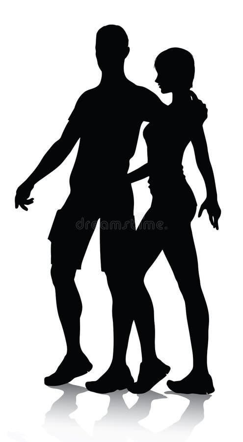 Accouplez la marche de silhouette illustration libre de droits