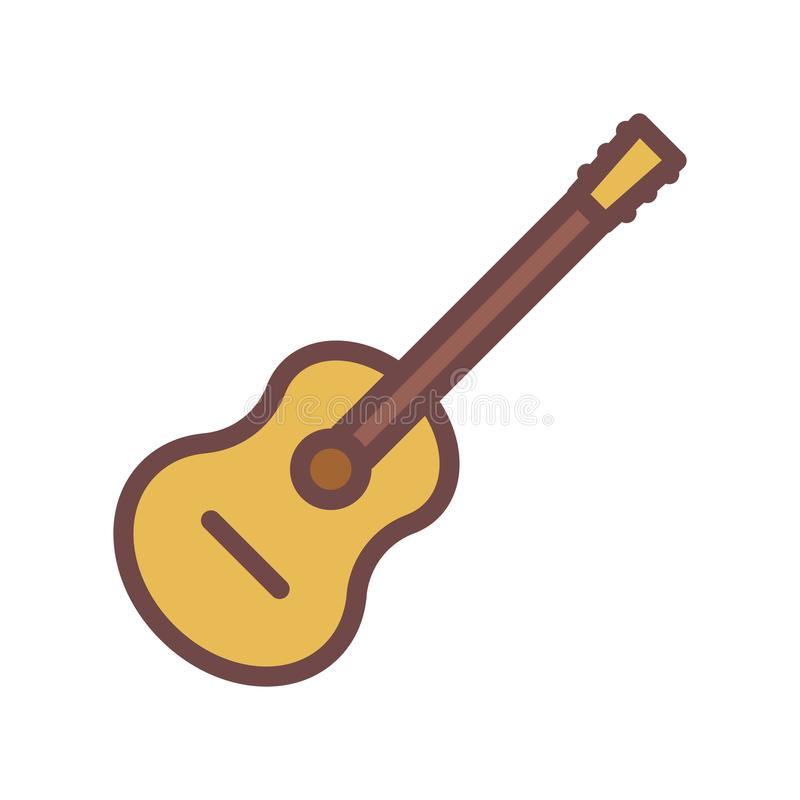 Accoustic guitar thin outline icon. Vector illustration stock illustration