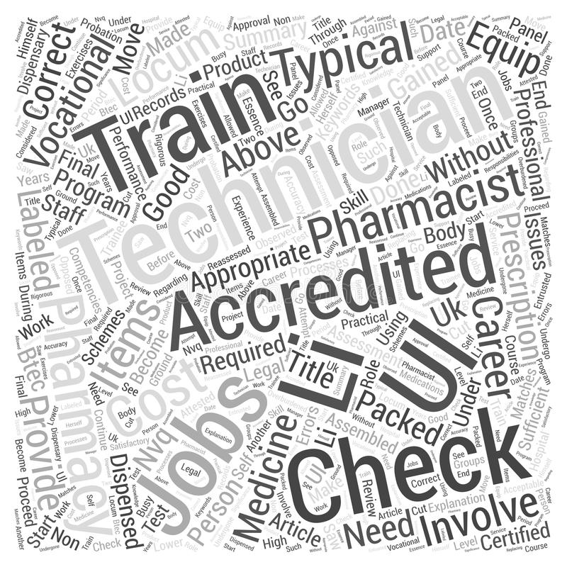 Accredited Checking Technician Jobs Provide A Good Vocational Career word cloud concept background. Text royalty free illustration