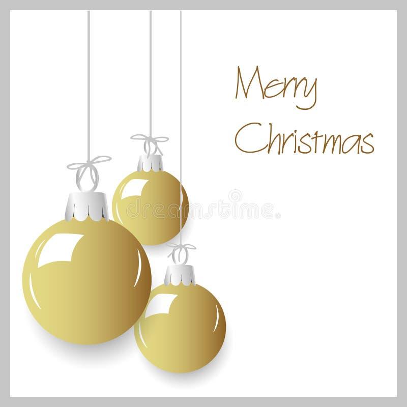 Accrocher brillant de babioles de décoration de Noël de couleur d'or illustration libre de droits