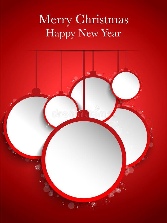 Accrocher de papier rouge de boules de Joyeux Noël illustration libre de droits
