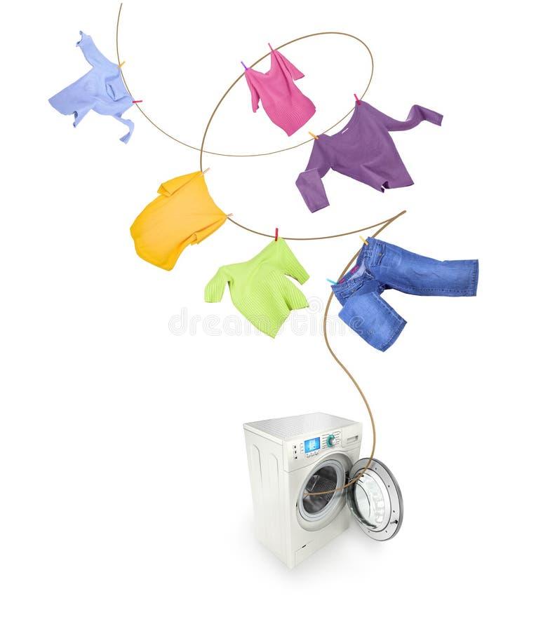 Accrocher et machine à laver de vêtements image stock