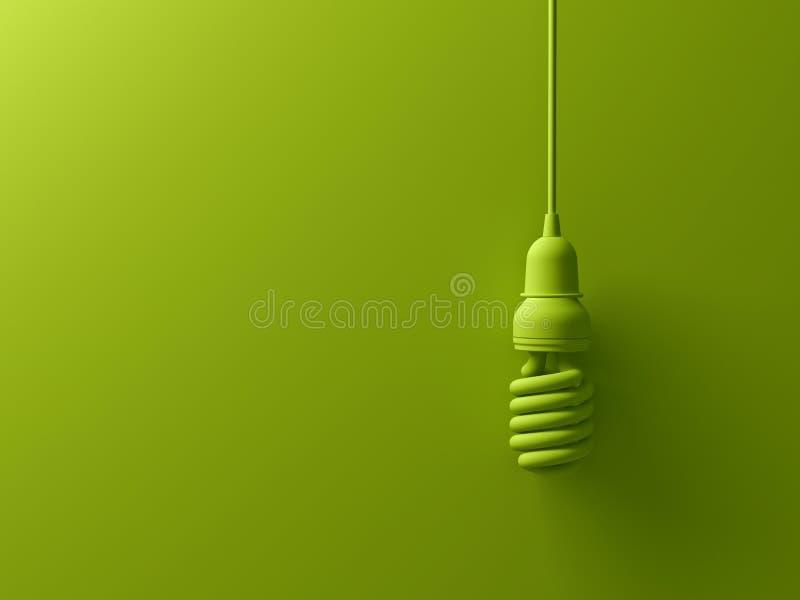 Accrocher fluorescent compact économiseur d'énergie d'ampoule d'eco vert d'isolement sur le fond vert illustration libre de droits