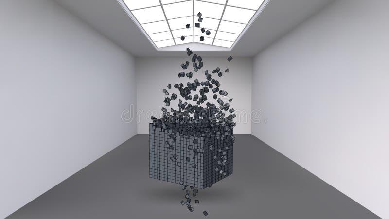Accrocher le cube d'une multitude de petits polygones dans la grande salle vide L'espace d'exposition avec des formes cubiques ab illustration libre de droits
