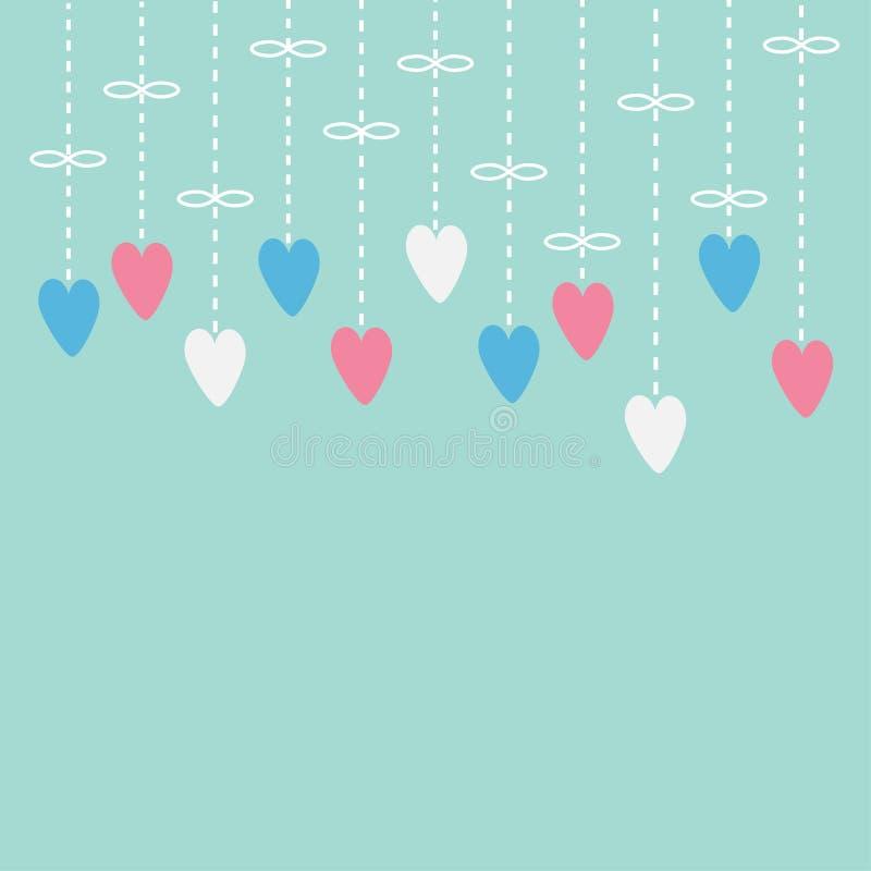 Accrocher les coeurs roses et blancs Ligne de tiret avec l'arc Carte d'amour Fond pour une carte d'invitation ou une félicitation illustration de vecteur