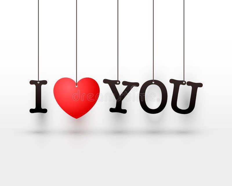Accrocher marque avec des lettres je t'aime le coeur rouge illustration de vecteur