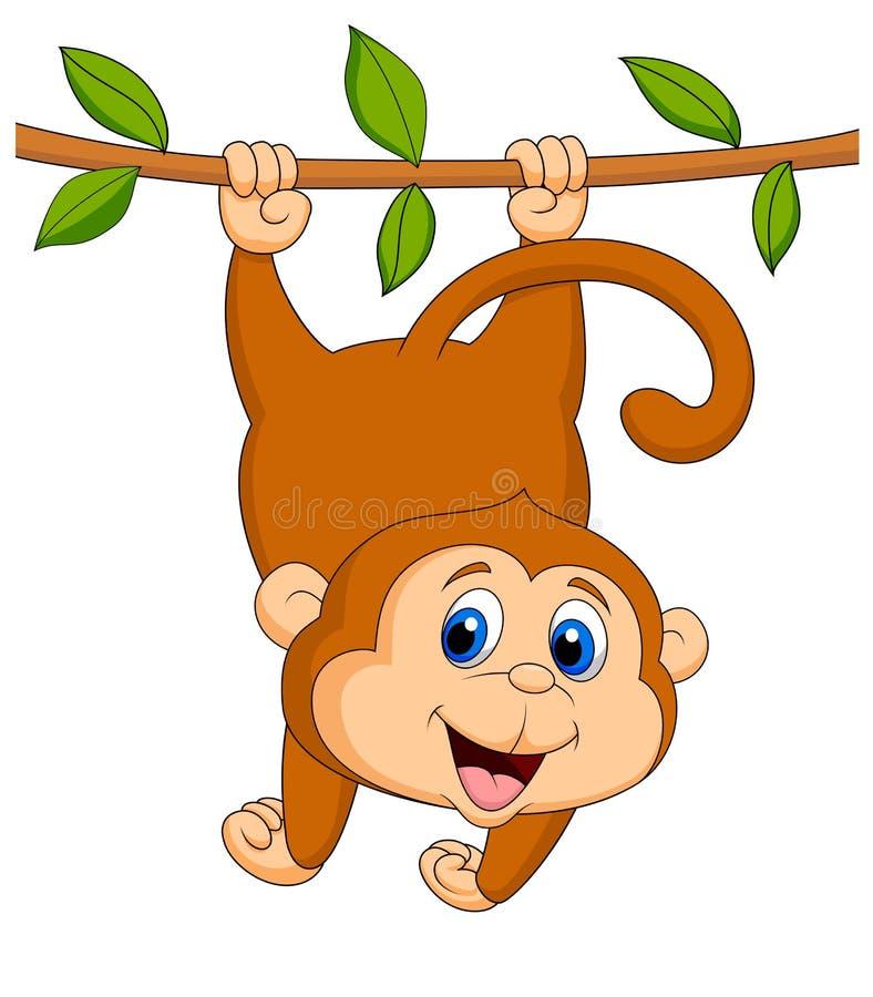 Accrocher mignon de bande dessinée de singe illustration de vecteur
