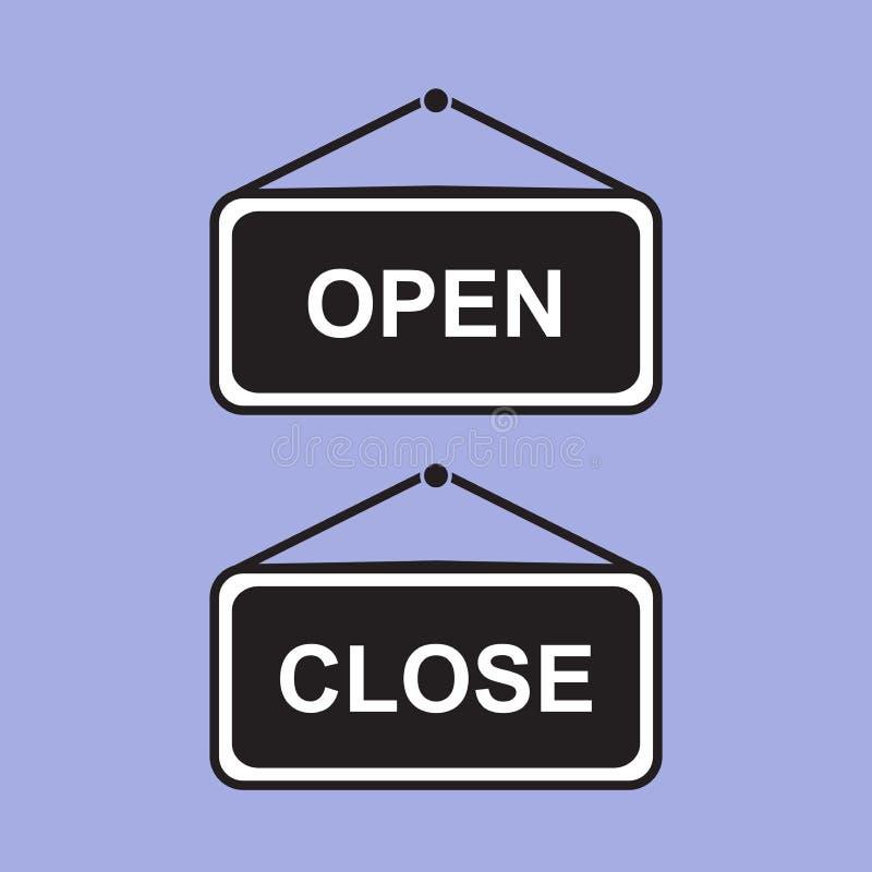 Accrocher ouvert et fermé de panneau de signe Graphisme de vecteur image libre de droits